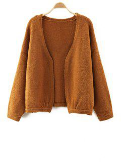 V-Neck Pure Color Long Sleeve Cardigan - Brown