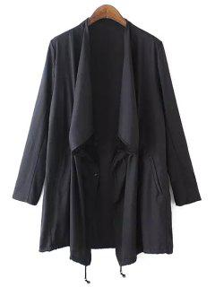 Asymmetrical Solid Color Long Sleeve Trench Coat - Black S