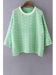 Color Mixture Long Sleeve Sweater - Green
