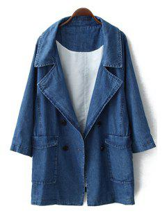 Double-Breasted Solid Color Long Sleeve Coat - Blue L
