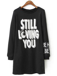 White Letter Print Long Sleeve Dress - Black L