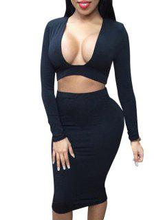 Long Sleeve Crop Top And Pencil Skirt Suit - Black Xl