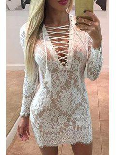 Openwork Lace Hook White Dress - White Xl