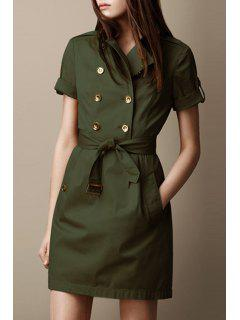 Half Sleeve Double-Breasted Coat Dress - Army Green M