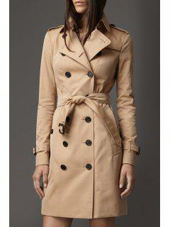 Double-Breasted Trench Coat With Belt - Khaki L
