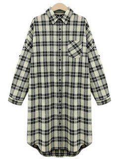 High Low Checked Long Sleeve Shirt - White And Black 5xl