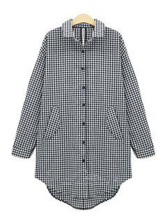 Plaid Single-Breasted Long Sleeve Shirt - White And Black 4xl