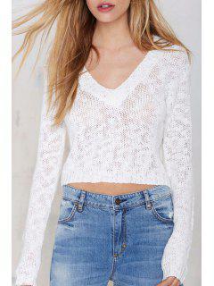 Suéter Con Cuello En V Blanco - Blanco Xl
