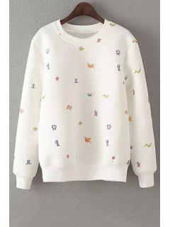 Embroidery Round Neck Long Sleeve Sweatshirt - Off-white L