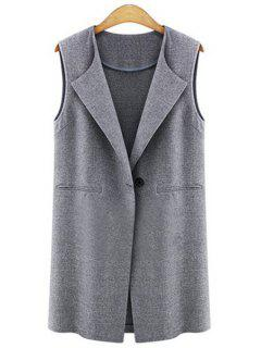 Solid Color One Button Sleeveless Waistcoat - Deep Gray S