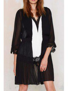 Black See-Through 3/4 Sleeve Blouse - Black L