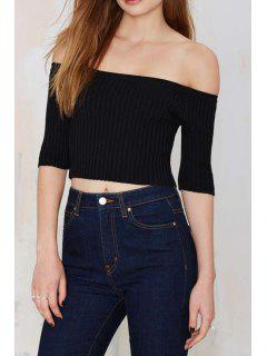 Solid Color Slash Neck Half Sleeve Jumper - Black M