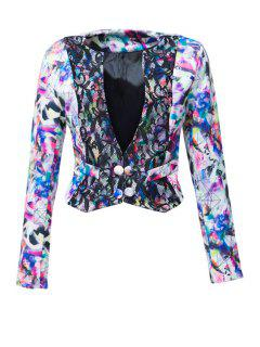 Plunging Neck Colorful Printed Long Sleeve Coat - Blue M