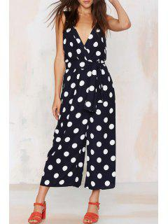 Sleeveless Polka Dot Wide Leg Jumpsuit - White And Black M