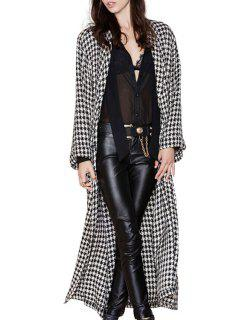 Houndstooth Turn Down Collar Long Sleeve Coat - White And Black Xl