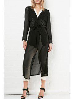 Glamorous Sheer Chiffon Trench - Black S