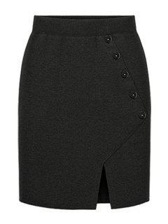 Side Slit Knitted Midi Skirt - Black