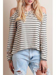 Striped Cut Out Scoop Neck Long Sleeve T-Shirt - White And Black M