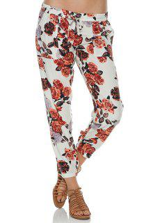 Tie-Up Floral Print Pants - White S
