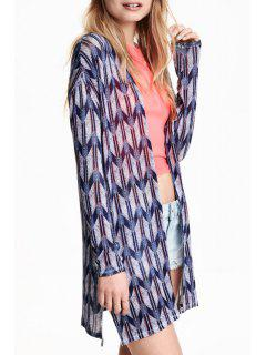 Geometric Print Long Sleeve Cardigan - Purplish Blue Xl