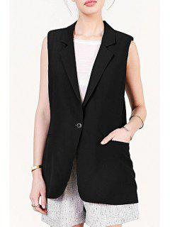 Lapel Black One Button Sleeveless Waistcoat - Black Xl