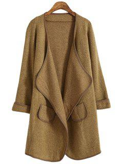 Turn- Down Collor Long Sleeves Solid Color Cardigan - Camel