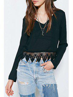 Black Lace Splicing Long Sleeve Crop Top - Black 2xl