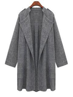 Gray Plus Size Trench Coat - Gray 5xl