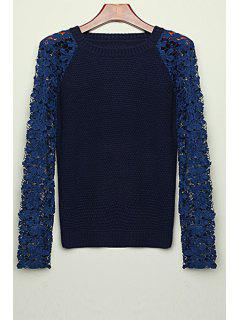 Long Sleeve Lace Patchwork Sweater - Black L