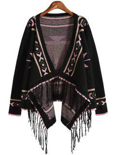 Geometric Print Bat-Wing Sleeve Asymmetric Cardigan - Black