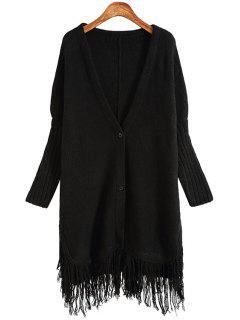 Solid Color Plunging Neck Long Sleeves Long Cardigan - Black