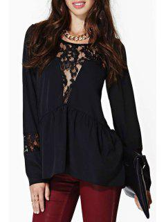 Scoop Neck Lace Splicing Openwork Blouse - Black 2xl