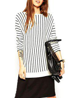 Jewel Neck Black Stripes Long Sleeve Sweater - White And Black Xl