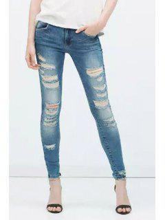 Broken Hole Low Waist Skinny Jeans - Deep Blue Xl