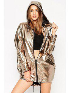 Hooded Metallic Zipper Fly Long Sleeve Coat - Golden 2xl