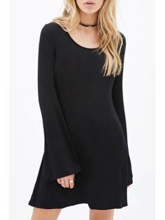 Scoop Neck Solid Color Bell Sleeve Dress - Black L