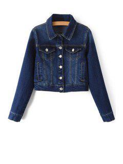 Blue Denim Turn Down Collar Deep Jacket - Deep Blue L
