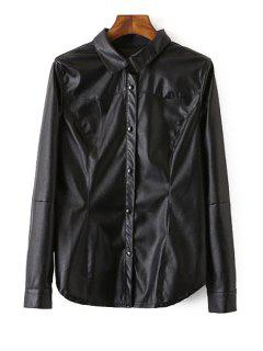 Long Sleeve Black PU Leather Shirt - Black L