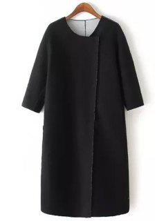 Jewel Neck Solid Color Half Sleeve Trench Coat - Black S