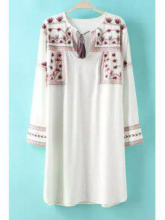 Floral Embroidery Tie-Up Long Sleeve Dress - White L
