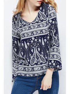 V-Neck Blue Paisley Print Long Sleeve Shirt - Purplish Blue L