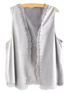Open Front Lace Hem Suede Waistcoat - Gray