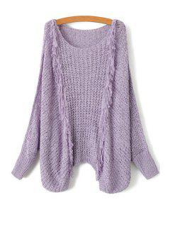 Tassel Splicing Openwork Long Sleeve Sweater - Purple