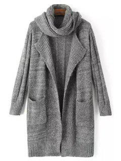 Solid Color Stripe Long Sleeve Cardigan + Scarf - Deep Gray
