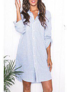 Blue Stripes Turn Down Collar Long Sleeve Shirt - Azure L