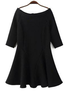 Slash Neck Fit And Flare Dress - Black L