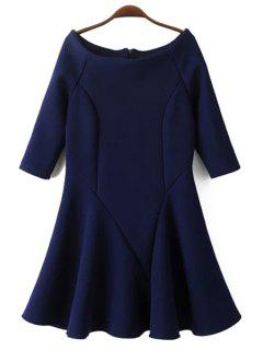 Slash Neck Fit And Flare Dress - Cadetblue L