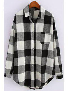 White Black Plaid Long Sleeve Shirt - White And Black L