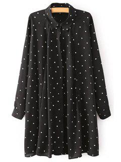 Turn-Down Collar White Polka Dot Dress - Black M