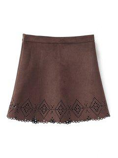 Argyle Pattern Openwork Solid Color Skirt - Coffee M